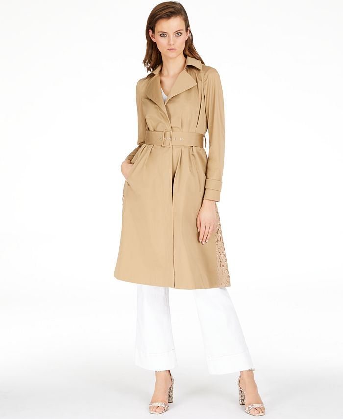 INC International Concepts - Long Lace-Back Trench Coat