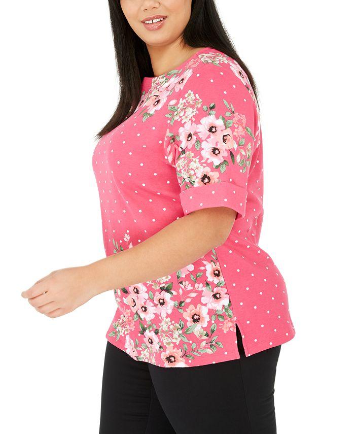Karen Scott - Plus Size Printed Elbow-Sleeve Top