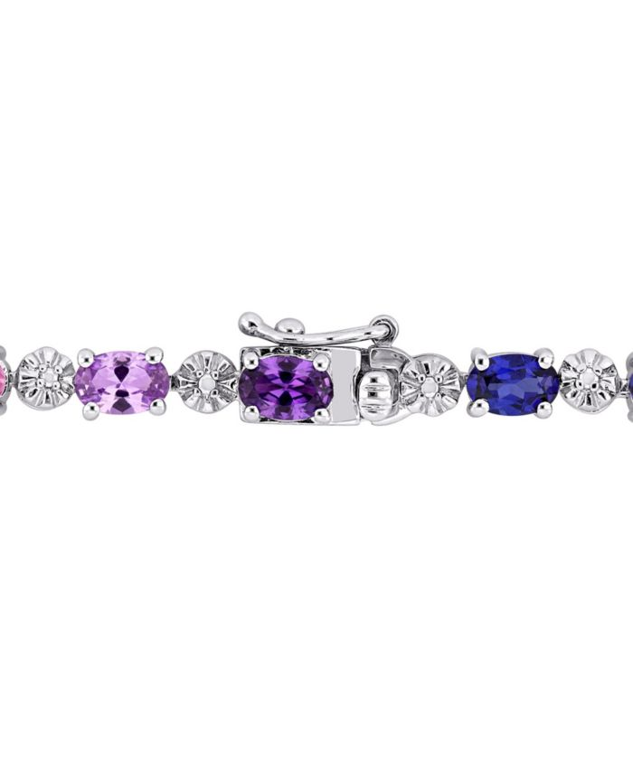 Macy's Multi-Color Created Sapphire (9 7/8 ct. t.w.) and Diamond-Accent Tennis Bracelet in Sterling Silver & Reviews - Bracelets - Jewelry & Watches - Macy's
