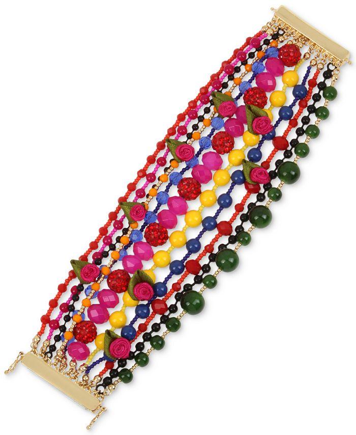 Betsey Johnson - Gold-Tone Bead, Fireball & Fabric Rose Multi-Row Statement Bracelet
