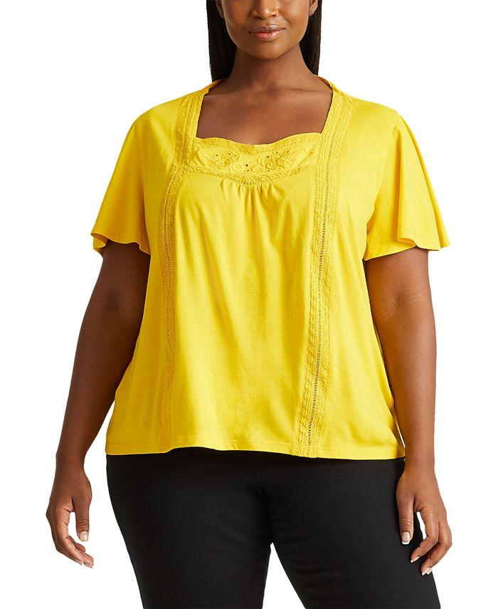 Lauren Ralph Lauren - Plus-Size Jersey Flutter-Sleeve Top