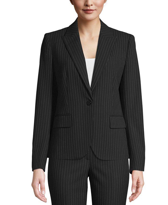 Anne Klein - Pinstriped One-Button Jacket