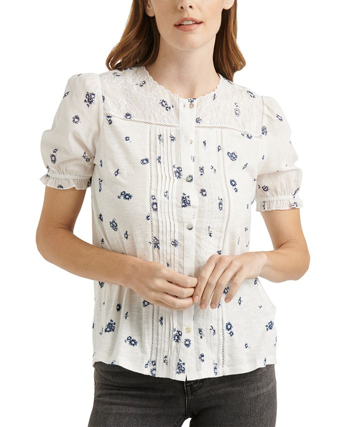 Lucky Brand - Cotton Embroidered Floral-Print Blouse