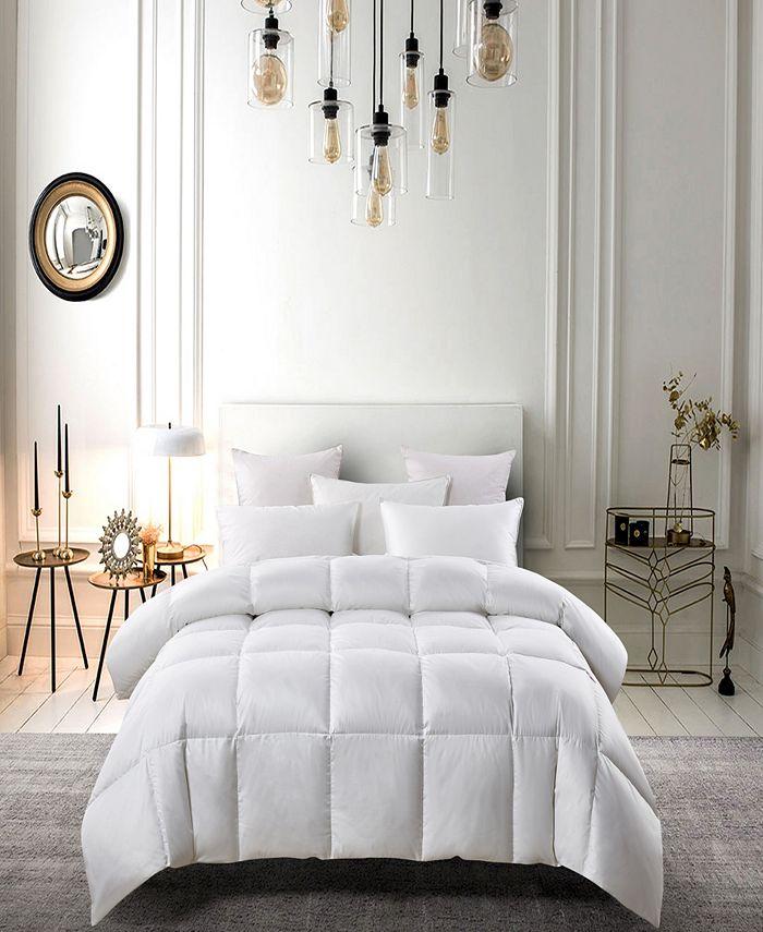 Serta - Light Warm White Down Fiber Comforter Full/Queen