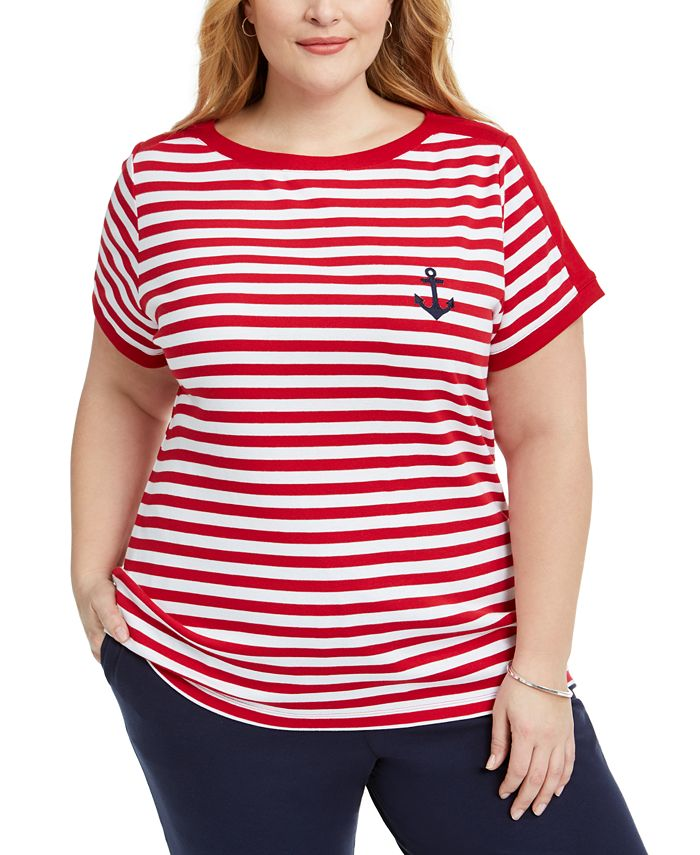 Karen Scott - Plus Size Anchor Stripe Cotton Top