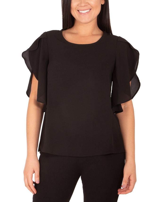 NY Collection - Petite Flutter-Sleeve Top