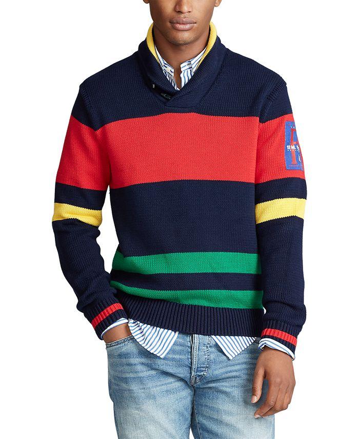 Polo Ralph Lauren - Men's Striped Cotton Shawl Sweater