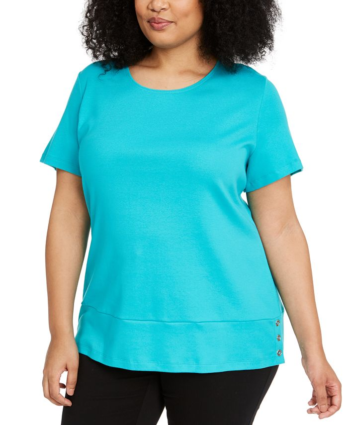 Karen Scott - Plus Size Cotton Snap-Detail Shirt