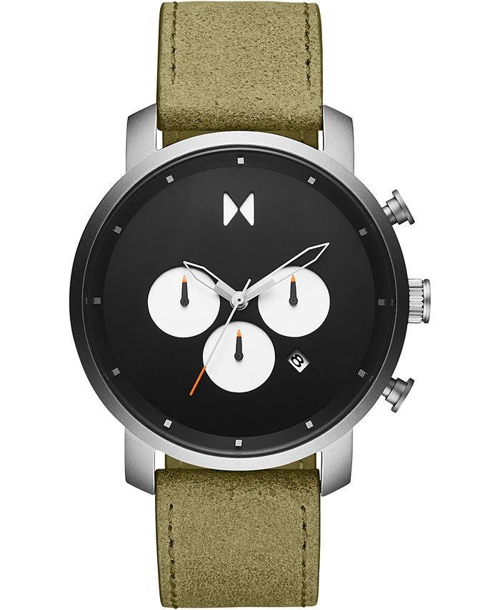 MVMT - Men's Chronograph Rugged Pack Green Leather Strap Watch 45mm