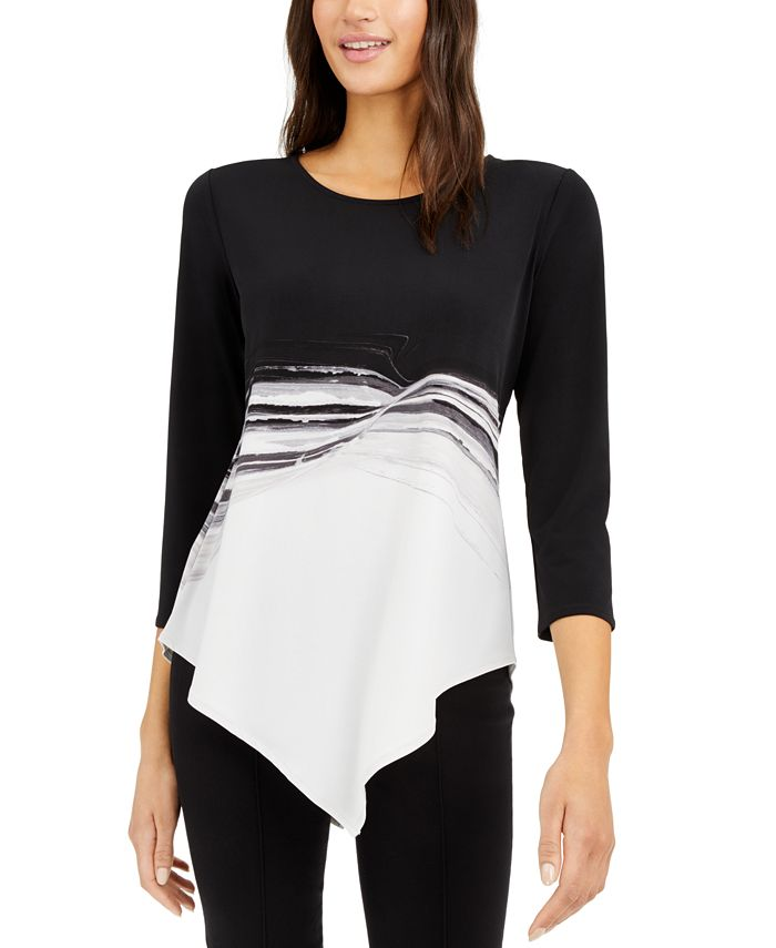 Alfani - Printed Asymmetrical Top