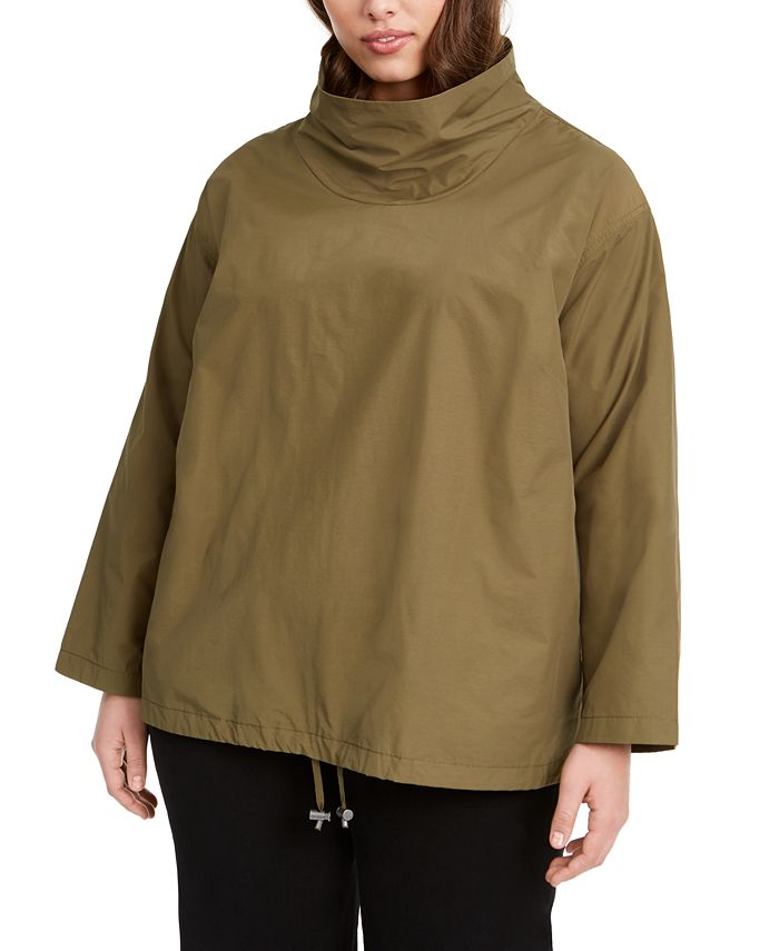 Eileen Fisher - Plus Size Mock-Neck Pullover Coat