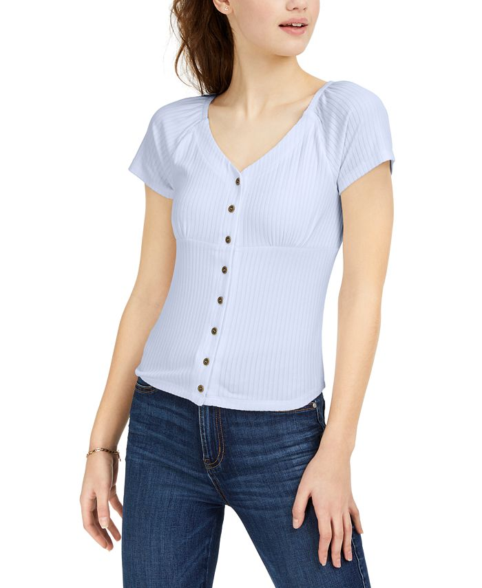Ultra Flirt - Juniors' Rib-Knit Button-Front Top