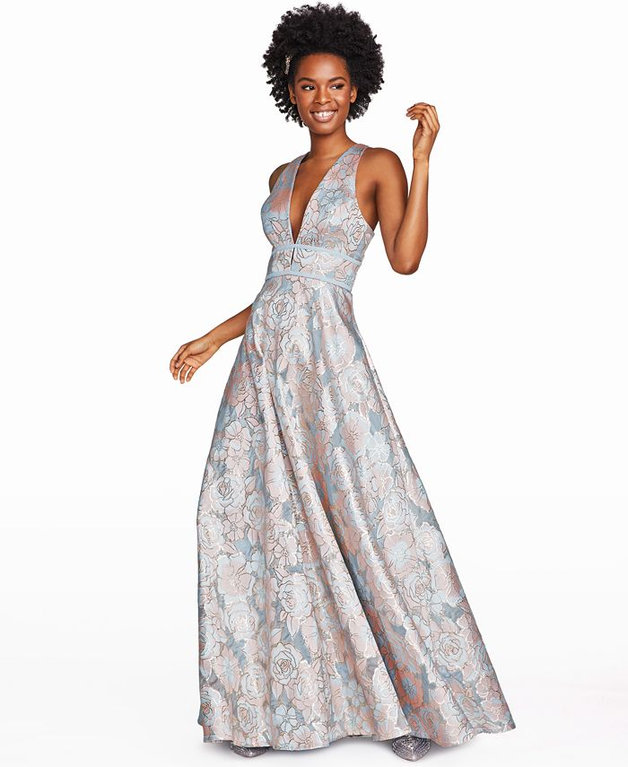 Speechless - Juniors' Floral Jacquard Gown