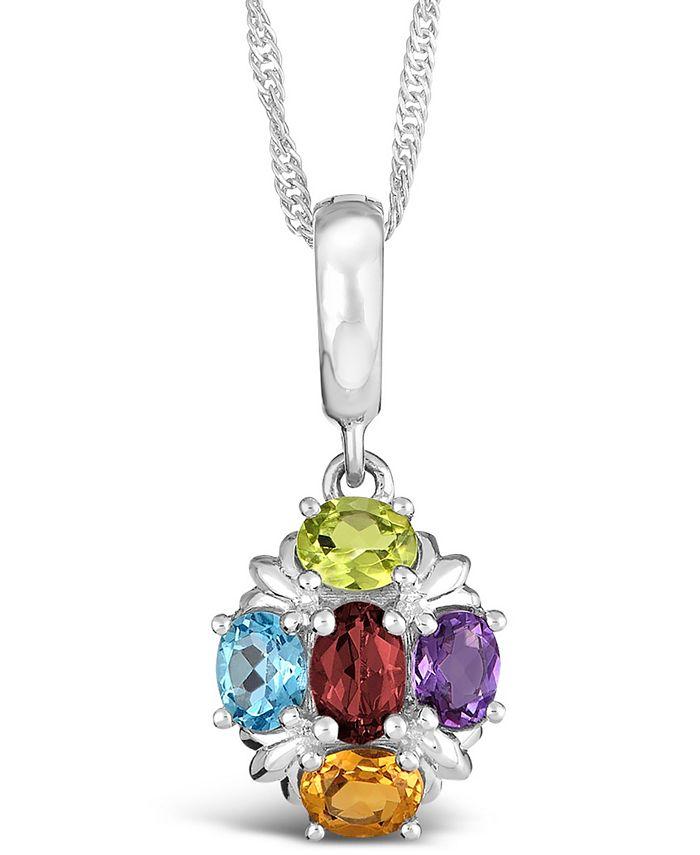 Macy's - Multi-Gemstone (1-5/8 ct. t.w.) Pendant Necklace in Sterling Silver