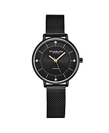 Stuhrling Women's Black Mesh Stainless Steel Bracelet Watch 34mm