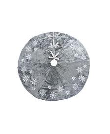 Manor Luxe Snowflake Sequin Soft Plush Furry Christmas Treeskirt Round