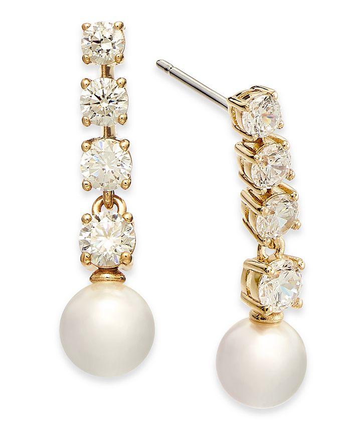 Eliot Danori - Crystal & Imitation Pearl Drop Earrings