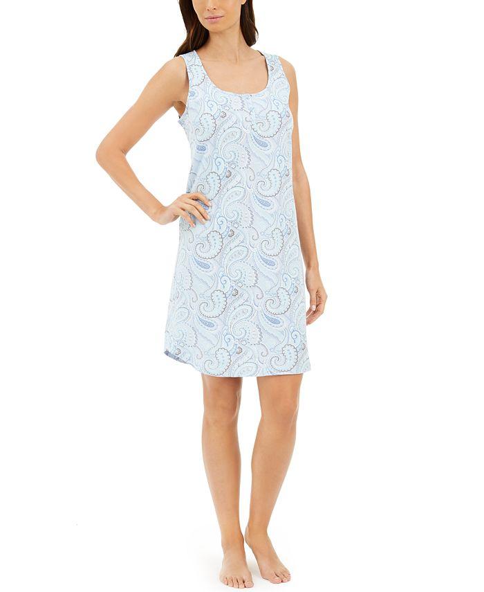 Charter Club - Cotton Sleeveless Printed Sleep Shirt