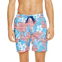 Deals on Club Room Mens Stripe Floral Leaf 7-in Swim Trunks