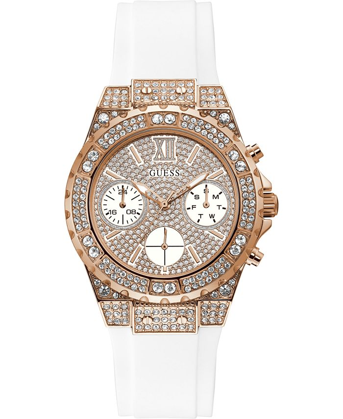GUESS - Women's White Silicone Bracelet Watch 39mm