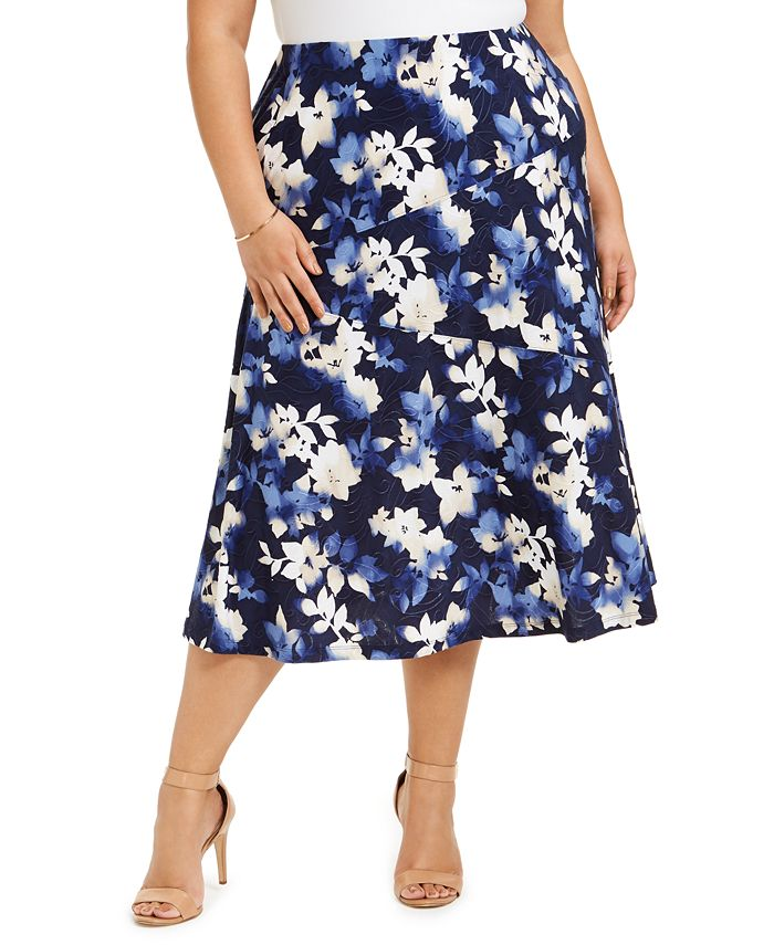 JM Collection - Plus Size Printed Jacquard Midi Skirt