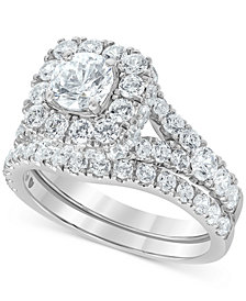 Diamond Halo Bridal Set (3 ct. t.w.) in 14k White Gold