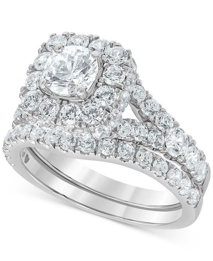 Macy's - Diamond Halo Bridal Set (3 ct. t.w.) in 14k White Gold