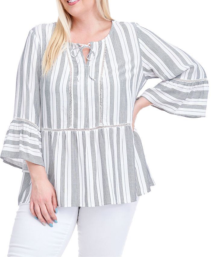 Fever - Plus Size Striped Bell-Sleeve Peasant Top