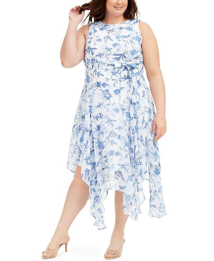 Calvin Klein - Plus Size Belted Handkerchief-Hem Midi Dress