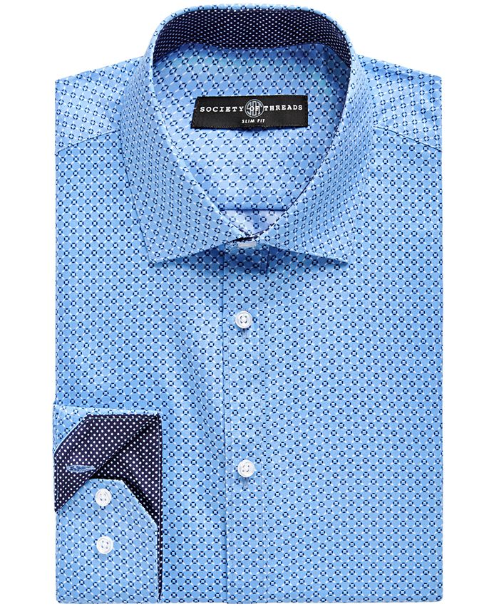 Society of Threads - Men's Slim-Fit Geo-Print Dress Shirt