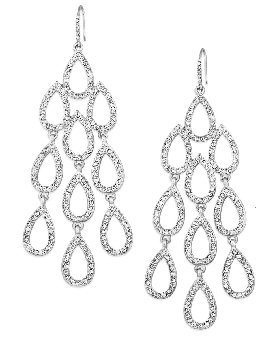 kate spade new york Silver Tone Crystal Triple Drop Earrings   Fashion Jewelry   Jewelry & Watches