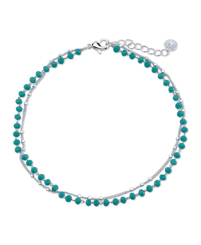 Unwritten Double Strand Silver Plated Turquoise Bead Anklet & Reviews - Bracelets - Jewelry & Watches - Macy's