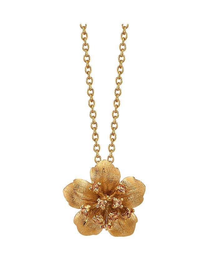 """David Tutera - Gold Flash Plated Clear Cubic Zirconia Flower Pendant Necklace, 16""""+2"""" Extender by  Everyday Celebrations"""