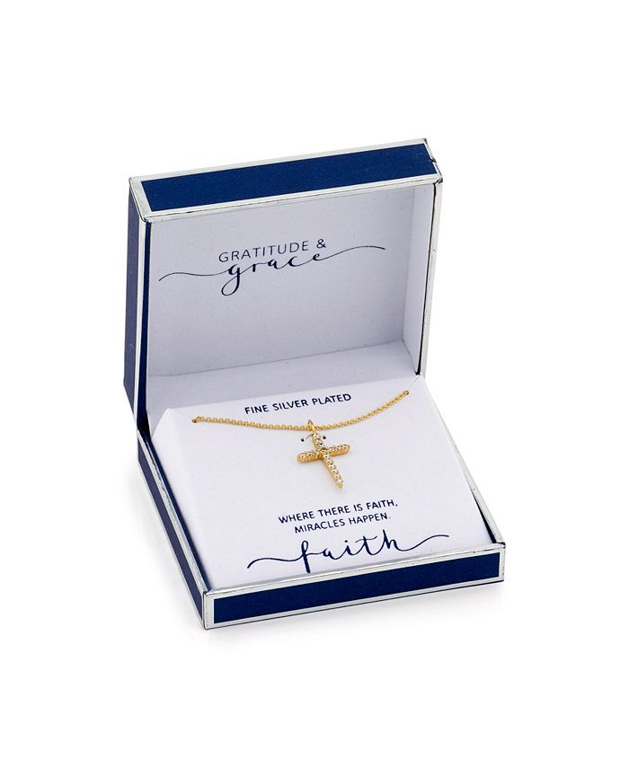 Unwritten - Fine Silver Plated Cubic Zirconia Cross Pendant Necklace