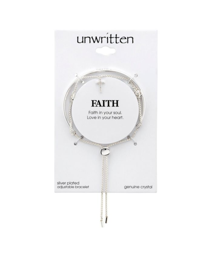 """Unwritten """"Faith"""" Cubic Zirconia Multi-Charm Bolo Stainless Steel Bracelet with Silver Plated Charms & Reviews - Bracelets - Jewelry & Watches - Macy's"""