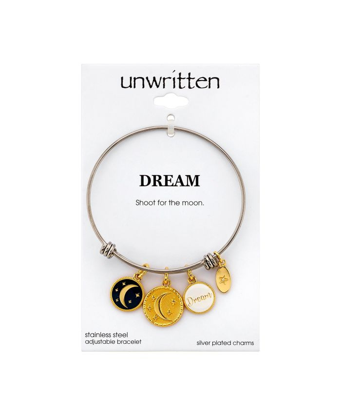 """Unwritten """"Dream"""" Adjustable Bangle Bracelet in Stainless Steel with Silver Plated Charms & Reviews - Bracelets - Jewelry & Watches - Macy's"""