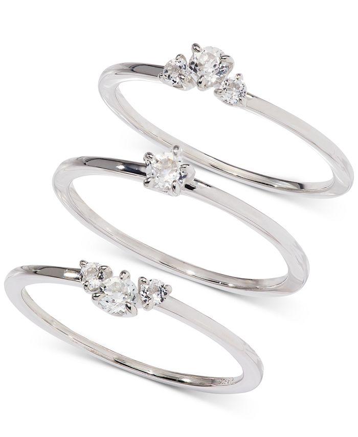 AVA NADRI - Silver-Tone 3-Pc. Set Crystal Rings