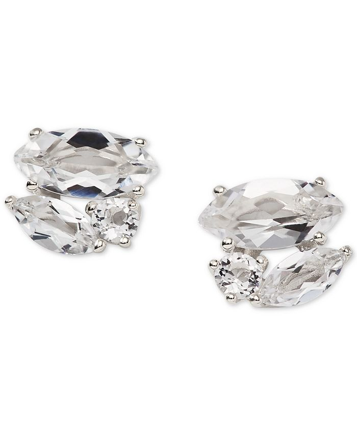 AVA NADRI - Silver-Tone Crystal Cluster Stud Earrings