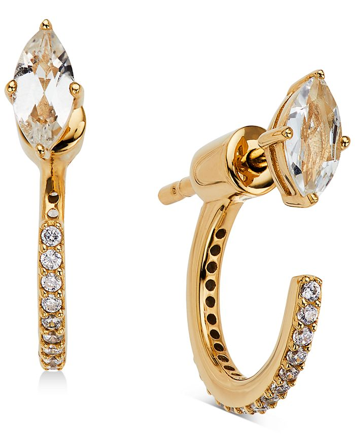 AVA NADRI - 18k Gold-Plated Cubic Zirconia Marquise & Hoop Front & Back Earrings