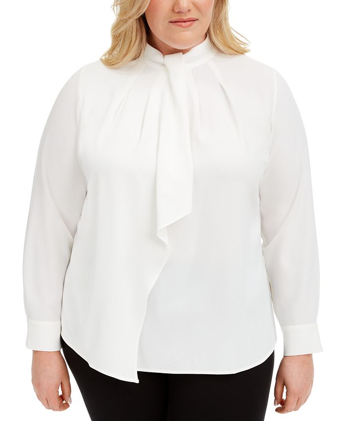 Calvin Klein - Plus Size Ruffle-Front Blouse