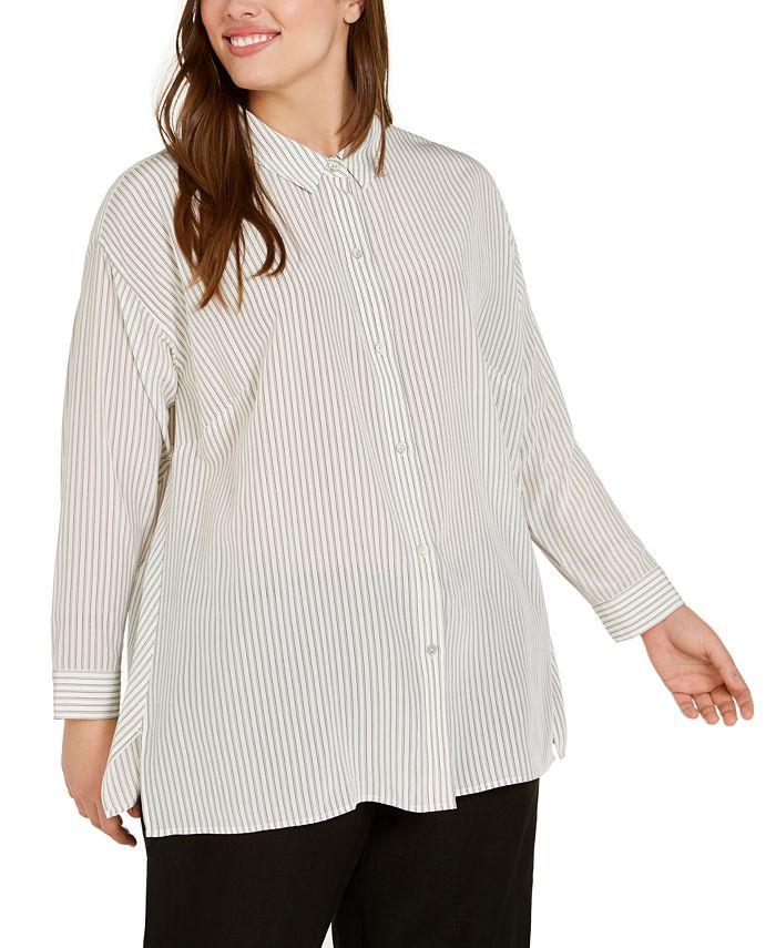 Eileen Fisher - Plus Size Silk Striped Top