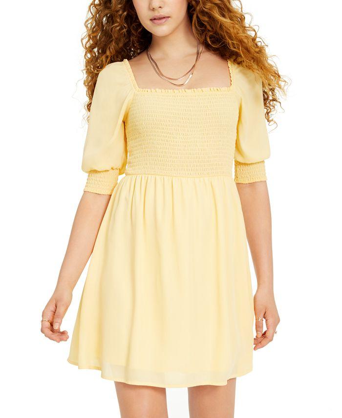 Ultra Flirt - Juniors' Smocked Puff-Sleeve Dress