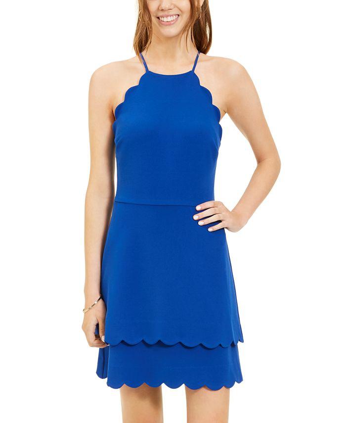 B Darlin - Juniors' Scallop-Trim A-Line Dress