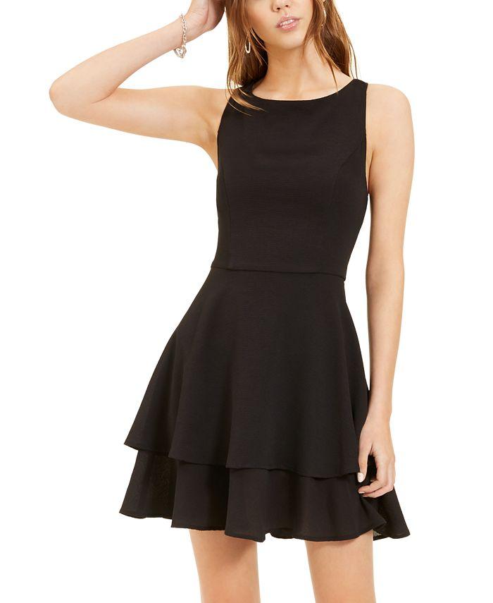 B Darlin - Juniors' Double-Hem A-Line Dress