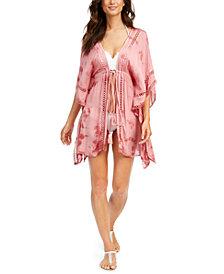 Raviya Crochet-Trim Tie-Front Kimono Swim Cover-Up