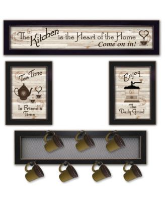 Kitchen Collection IV 4-Piece Vignette with 7-Peg Mug Rack by Millwork Engineering, White Frame, 32