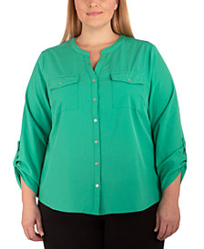 NY Collection Plus Size Mandarin-Collar Blouse