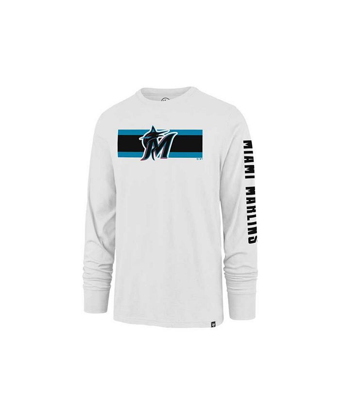 '47 Brand - Miami Marlins Men's Cross Stripe Long Sleeve T-Shirt