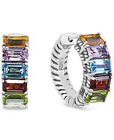 "EFFY® Multi-Gemstone Small Hoop Earrings (3 ct. t.w.) in Sterling Silver, 0.6"""