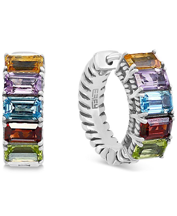 EFFY Collection - Multi-Gemstone Hoop Earrings (3 ct. t.w.) in Sterling Silver